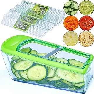 LHS Mandoline Slicer - Vegetable Slicer Dicer Cutter Grater and Shredder - Kitchen Heavy Duty Food Slicer Veggie Slicer with 4 Blades, Slicer for Fruits and Vegetables