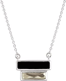 Double Bar' Natural Agate & Pyrite Necklace in Sterling Silver