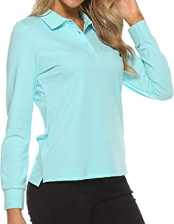 Women's Golf Polo Shirts Sports Athletic Shirts Tennis Tops Fitness Workout T-Shirt with Buttons