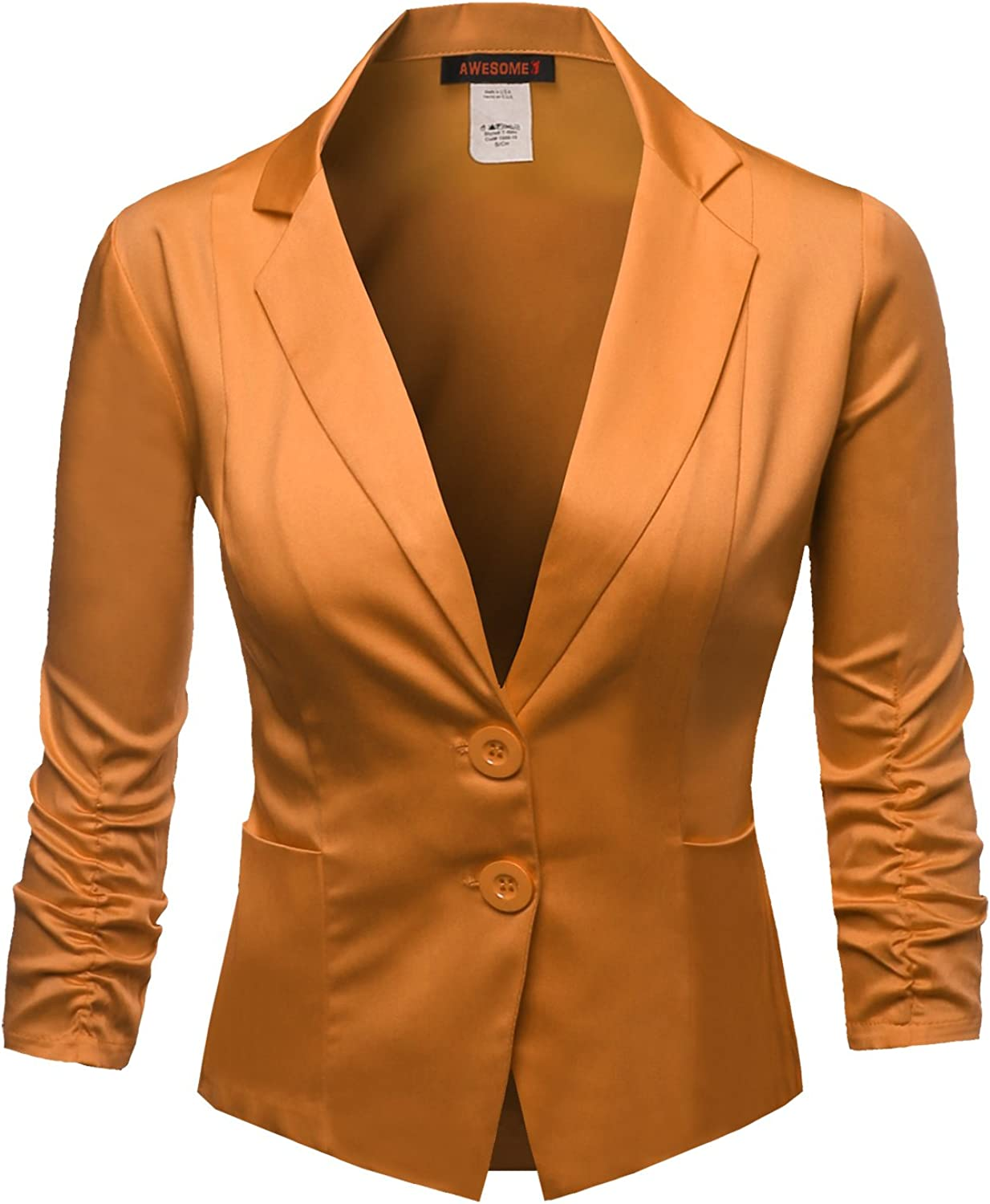 Awesome21 Women's Basic Solid color Princessline Silky Cotton Plus Size Blazer