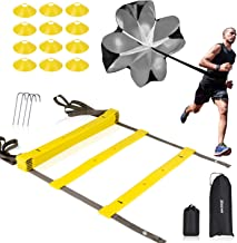 XGEAR Speed Agility Training Set - Indoor Outdoor TPE Adjustable Rungs Agility Ladder, Resistance Parachute, 4 Steel Stake...
