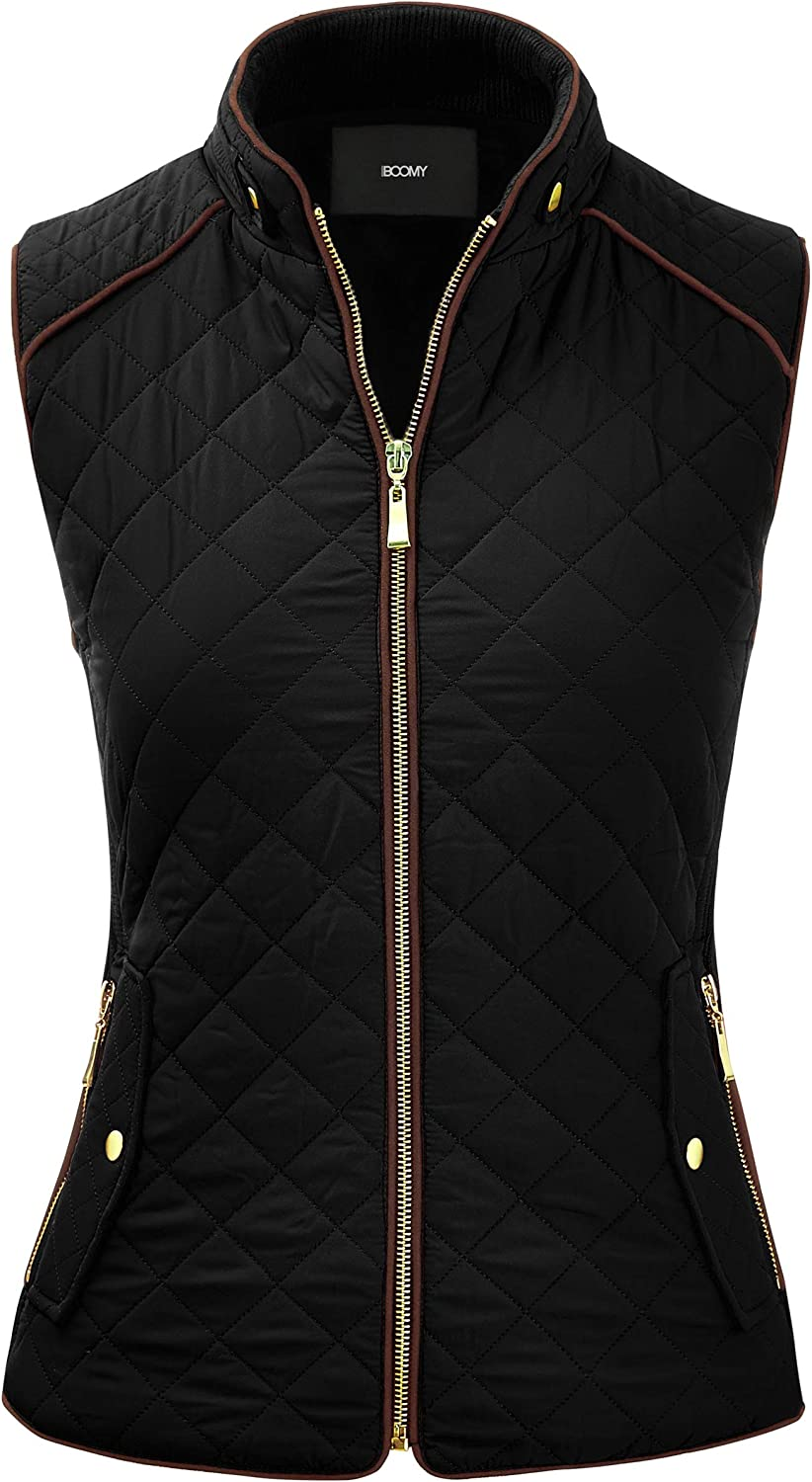 FASHION BOOMY Women's Quilted Padding Vest - Lightweight Zip Up Jacket - Regular and Plus Sizes