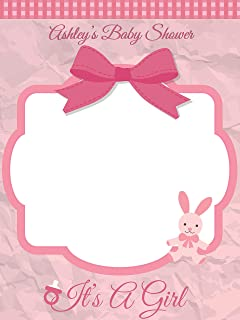 Custom Home Decor Baby Shower Photo Booth Prop - Sizes 36x24, 48x36; Personalized Pink It's a Girl Baby Shower Photo Booth Frame With a Bow and a Bunny; Handmade Nursery Decor