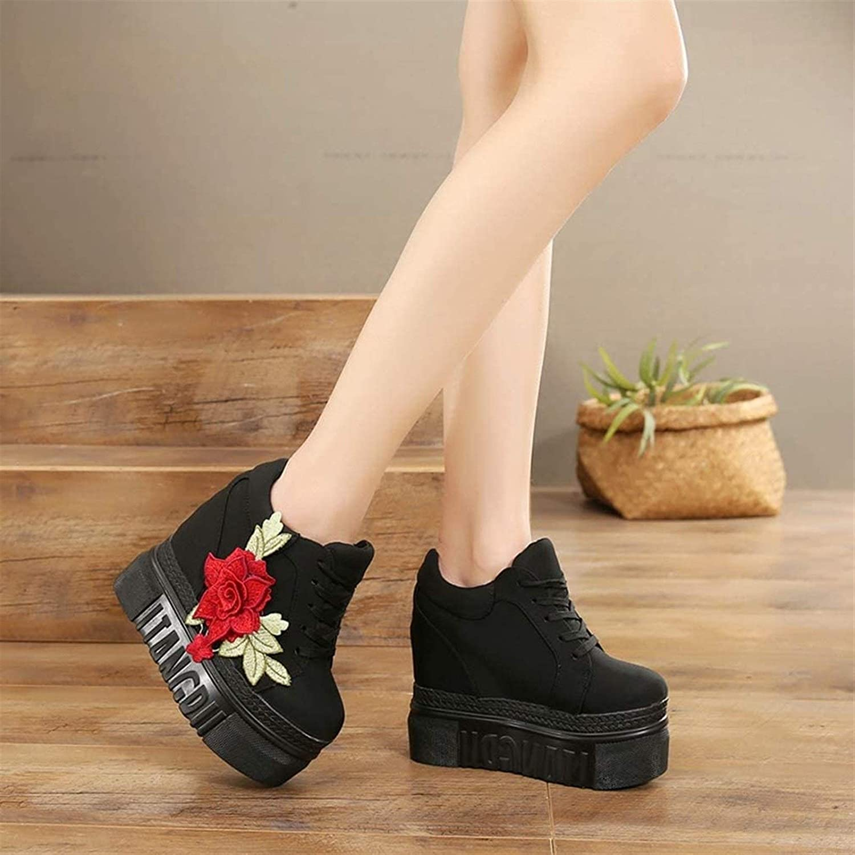 Color : Red, Size : 35 MGS delle Donne della Piattaforma del Tacco Alto con Plateau Embroidered Rose Canvas Interno Innalzamento Shoes