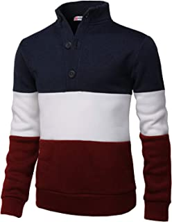 Mens Casual Slim Fit Pullover Sweatshirts Knitted T-Shirts Thermal Napping Inside of Various Styles