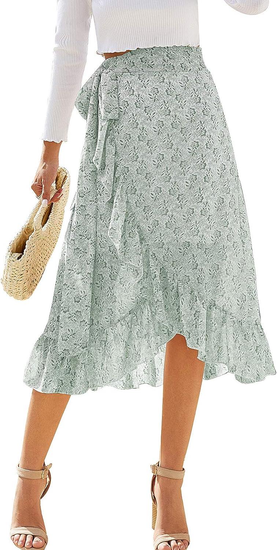 LERENSHA Women's Boho Ditsy Floral Tie Knot Wrap High Waist Ruffle Hem Midi Skirt with Slit