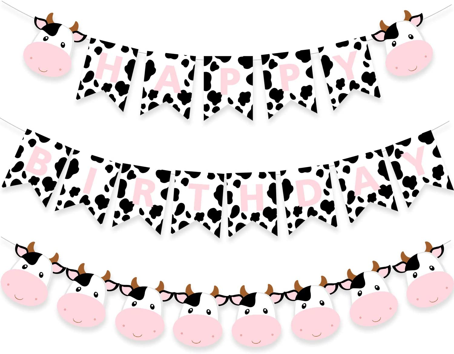 Cow Happy Birthday Banner Pink Farm Animal Party Decoration Baby