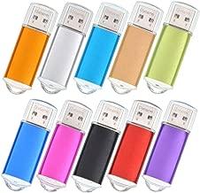 64MB USB Flash Drive Bulk 10 Pack Thumb Drives - Mini Metal USB 2.0 Memory Stick - Small Capacity Pen Drive Data Storage - Datarm Bulk Multi-Coloured Jump Drives