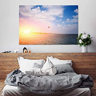 SfeatruAngel_SOSUNG Canvas Framed Wall Art,One Seagull Flies Over The sea on a Wonderful Summer Day(24