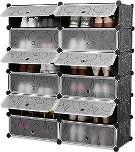 Homfa Étagères à Chaussures Étagère de Rangement 12 Cubes Chaussures avec Portes Noire Imprimée (91x105cm)