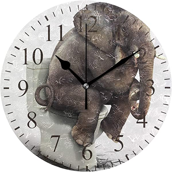 JERECY Funny Elephant Sitting On The Toilet Wall Clock Silent Non Ticking Acrylic 10 Inch Home Office School Decorative Round Clock Art