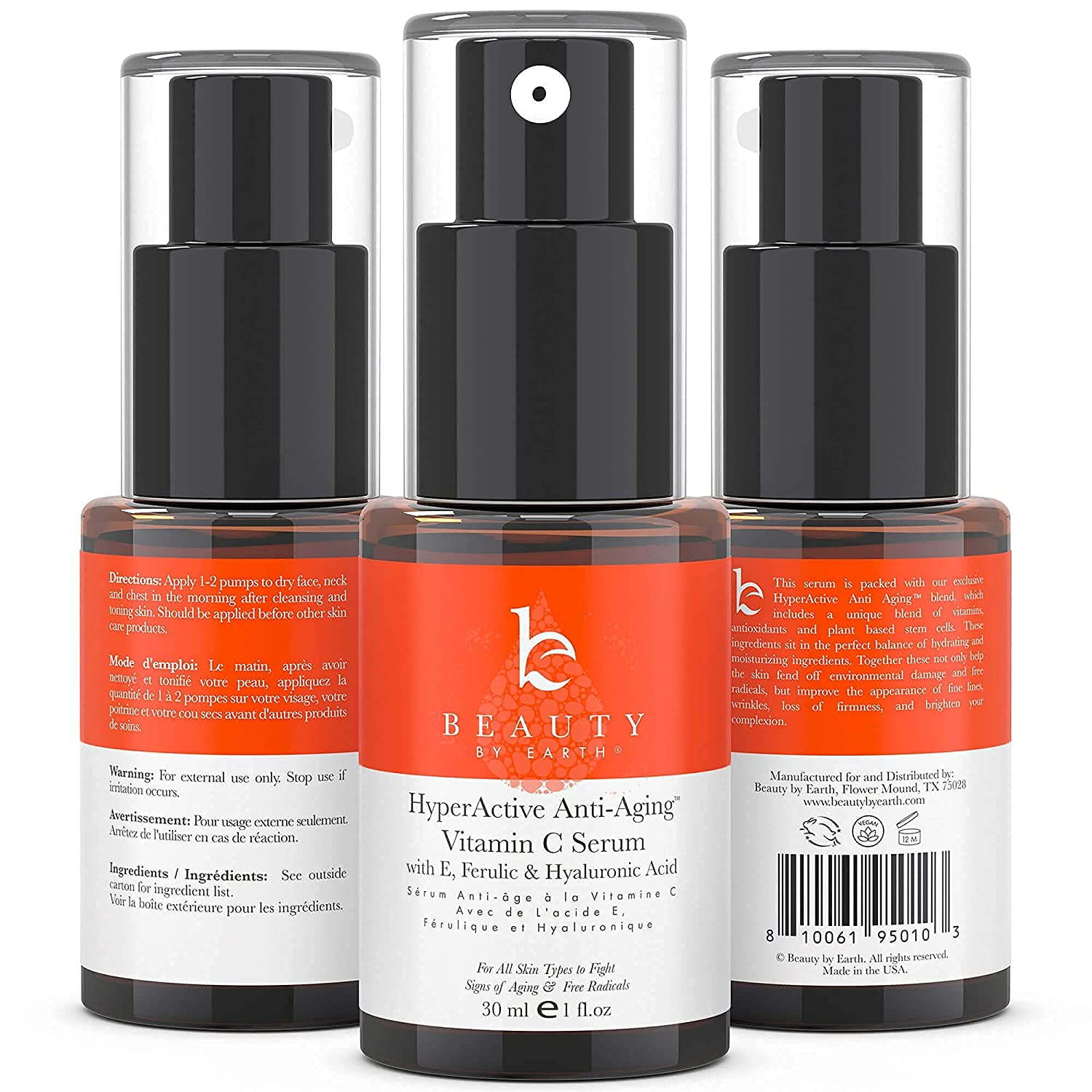 Vitamin C Serum with Hyaluronic Acid - Anti Aging Vit C Facial Serum with Vit E & Ferulic Acid to Brighten Skin, Reduce signs of Aging, Photodamage and Appearance of Fine Lines & Wrinkles (1 pk)