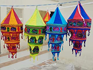 Farol decorativo de 5 piezas, decoración de fiesta de cumpleaños, plegable, lámpara de estilo bohemio, decoración india étnica, lámpara de araña incrustada E1