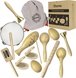Ehome Toddler Musical Instruments, Natural Wood Percussion Instruments Toy for Kids Preschool Educational, Musical Toys Set for Boys and Girls with Storage Bag
