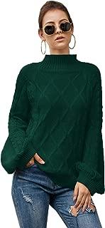 SheIn Women's Oversized Mock Neck Puff Sleeve Knit Sweater Drop Shoulder Long Sleeve Plain