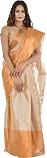 Women's & Girl's Uppada Pure Cotton Saree With Unstiched Blouse Piece (Ayesha 05uts_Gold)