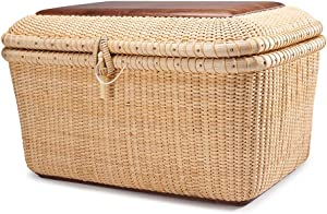Teng Tian Nantucket Baskets Rectangular Handwoven Rattan Storage Basket Set with Lid for Shelves and Home Organizer Bins (L)