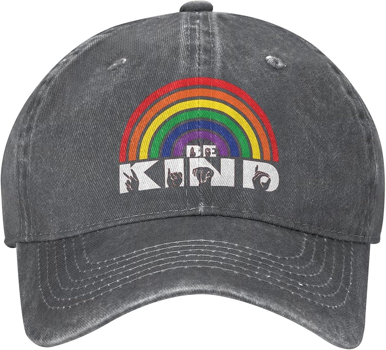 Be Kind ASL American Sign Language with Rainbow Cute Baseball Hat Unisex Dad Hats Trucker Hat Sandwich Sports Mesh Hat Adjustable