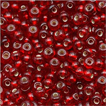Jablonex Czech Seed Beads Ruby Red Silver Lined Size 6//0 1-Ounce