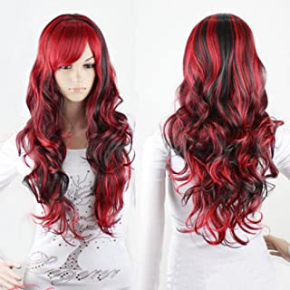AneShe Anime Cosplay Wigs Red and Black for Women Long Curly Hair Wigs Lolita Style Wigs (Red+Black)