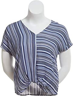 BCX Womens Blue Striped Short Sleeve V Neck Top Size M