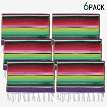 yofit Mexican Serape Table Runner, Mexican Party Blanket, Serape Wedding Decorations,6pack (Violet, 14x84 inch 6pack)