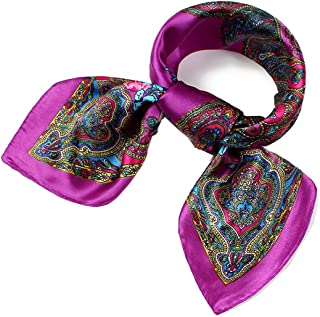 Sleek Multicolored Lovely Square Scarf for Girls Lightweight Floral