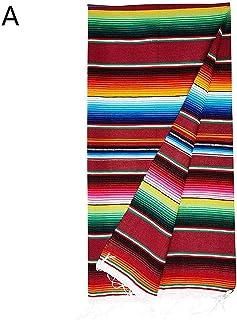 xiangpian183 Mexikanische Regenbogen Decke, Baumwolle Handgestrickter Regenbogen Mexikanischer Stil Quaste Werfen Decke Schal Mexikanische Karneval Tischdecken Wanddecke Charakteristisch Hochzeit
