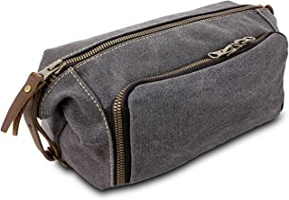 Habitoux -DOPP Kit Mens Toiletry Travel Bag YKK Zipper Canvas & Leather (Medium, Grey)