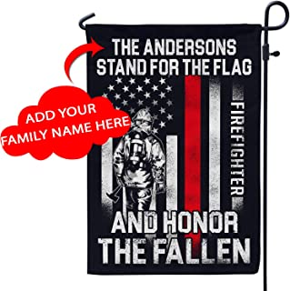 VTH Global Personalized Firefighter Patriot Pride American Garden Flag Customized Volunteer Firefighting for Dad Husband Boyfriend Grandpa Son from Wife Girlfriend Mom Daughter