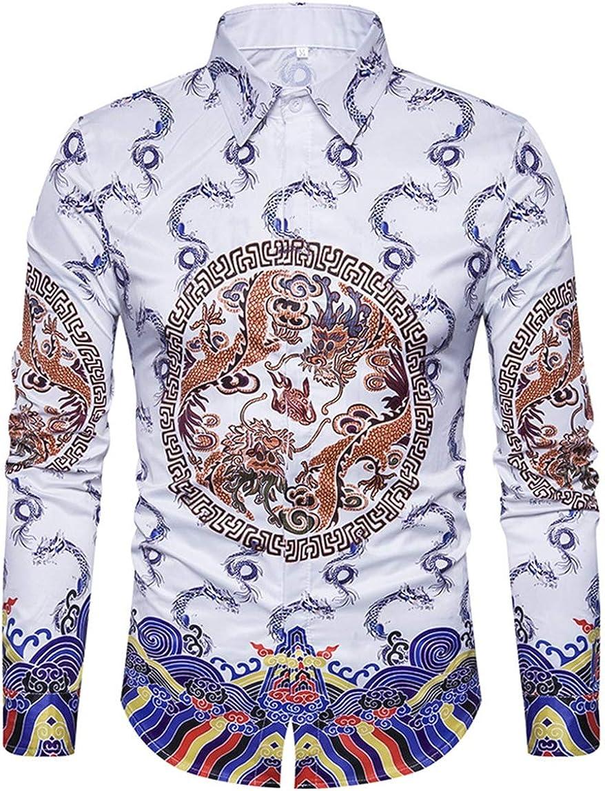 Men's Shirt Fashion Casual Classic Hawaiian Style Chinese National Style Dragon Robe Long Sleeve Simple Joker Shirt Shirt