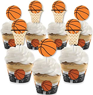 Big Dot of Happiness Nothin' but Net - Basketball - Cupcake Decoration - Baby Shower or Birthday Party Cupcake Wrappers and Treat Picks Kit - Set of 24