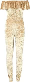 Ladies Crushed Velour Bardot Off Shoulder Frill Jumpsuit US Size 6-12