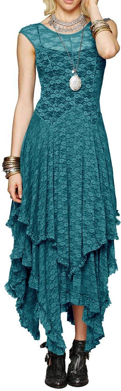 R.Vivimos Free Shipping Cheap Bargain Gift Womens Phoenix Mall Sleeveless Backless Asymmetrical L Layered Lace