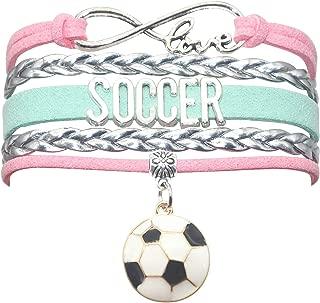 HCChanshi Soccer Bracelet Jewelry Infinity Love Cute Soccer Ball Charm Bracelet Soccer Gifts for Women, Girls, Men, Boys, Soccer Lovers, Soccer Team Soccer Themed Gifts