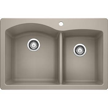 Blanco Truffle 441285 Diamond Silgranit 50 50 Double Bowl Drop In Or Undermount Kitchen Sink 33 X 22 Kitchen Sinks Amazon Com
