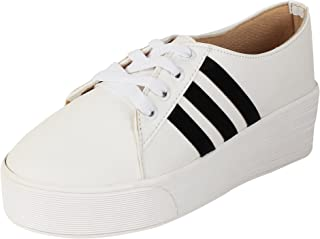AUTHENTIC VOGUE Women's Black White Casual Sneakers