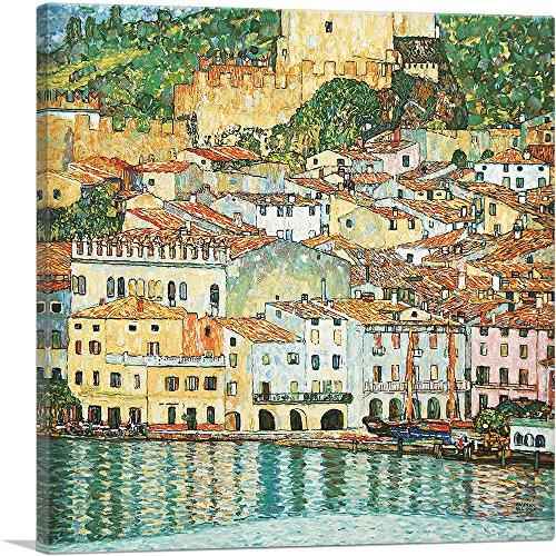 "ARTCANVAS Malcesine Lake Garda 1913 Canvas Art Print by Gustav Klimt - 26"" x 26"" (0.75"" Deep)"