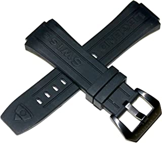 Swiss Legend 28MM Black Silicone Watch Strap Black Stainless Buckle Fits 44mm Trimix Diver Watch