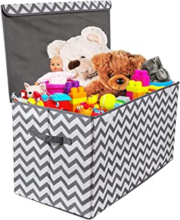 Woffit Toy Storage Organizer Chest for Kids & Living Room, Nursery, Playroom, Closet etc. – Extra Large Collapsible Toys Bin with Flip-top lid for Children & Dog Toys, Great Box for Boys and Girls