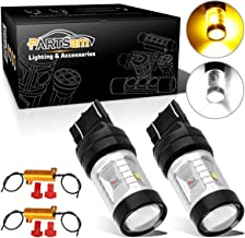 Partsam 7440 7443 7443 Switchback Amber White High Power Projector LED Bulbs Front Turn Signal Light Super Bright Led w/Anti- Flickering resistors - (2pcs/Set)