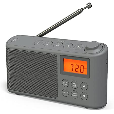 DAB/DAB+ & FM Radio, Mains and Battery Powered Portable DAB Radios Rechargeable Digital Radio with USB Charging for 15 Hours Playback (Grey)