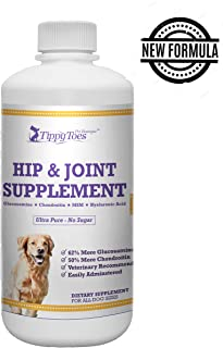Tippy Toes Pet Boutique Liquid Glucosamine Chondroitin For Dogs HUGE 32oz bottle Hip & Joint Supplement with MSM & Hyaluronic Acid. Aids Dog Mobility Improves Movement Helps with Arthritis USA Made