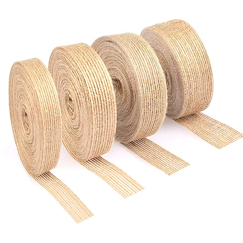 TIMESETL 4 Rolls Burlap Ribbons 11 Yard Natural Vintage Jute Fabric Ribbons for Wedding Party Decoration Christmas Supplies