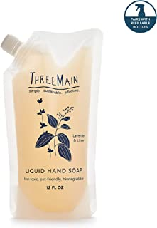 ThreeMain Liquid Hand Soap Refill Pouch - Hypoallergenic, Eco-Friendly, Non-Toxic, Biodegradable - Lavender and Litsea Scent, 16 Ounces (2 Count)