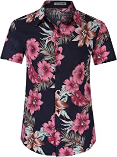 Kuulee Hawaiian Shirts for Men Hibicus Hawaiian Shirt Short Sleeve Cotton Button Down Hawaiian Shirt
