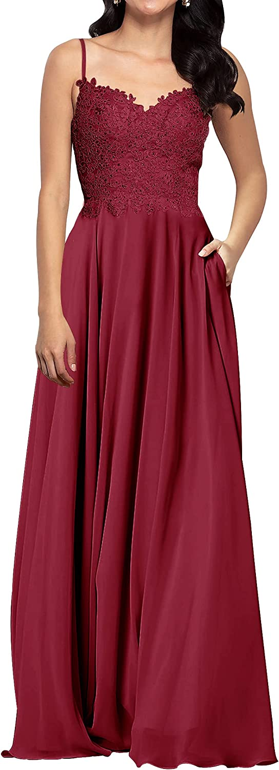 Prom Dress Long Formal Evening Gowns Chiffon Bridesmaid Dress Lace Prom Dresses with Pocket