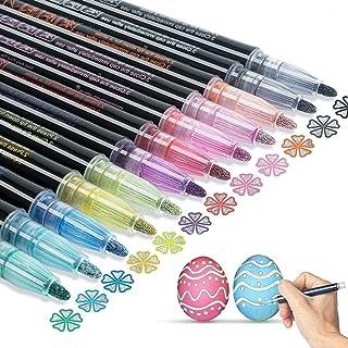 Super Squiggles Outline Markers: Doodle Dazzles Shimmer Marker Set, 12 Colors Double Line Outline Marker For Gift Card, Sc...