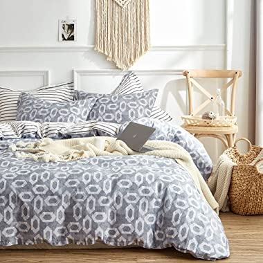 Joyreap 3 Pieces Cotton Duvet Cover Set, Geometric Hexagon Print on Gray, Duvet Cover with Zipper & Corner Ties, Fashion n Soft Bedding Set for All Seasons (King, 104x90 inches)
