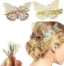 Yueton Pack of 2 Golden Butterfly Hair Clip Hair Accessories, Bride Headwear Hair Clips